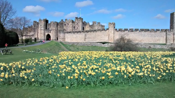 Alnwick Castle with a toddler