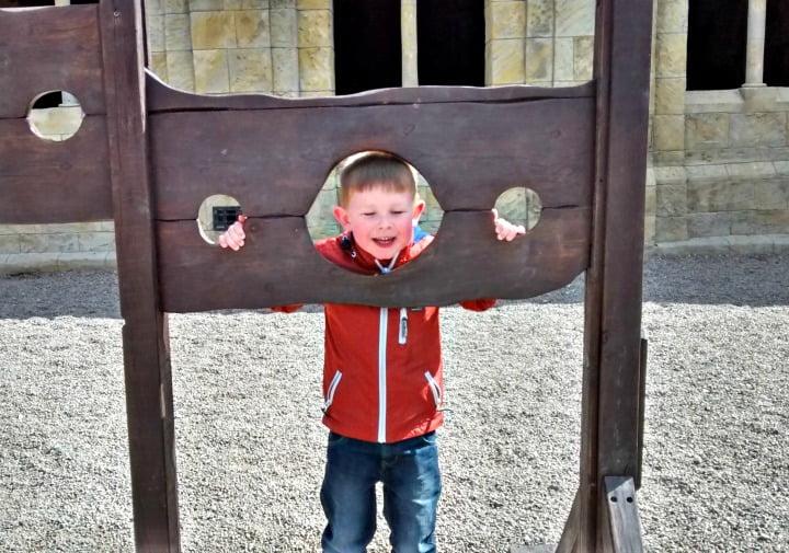 In the stocks at Alnwick Castle