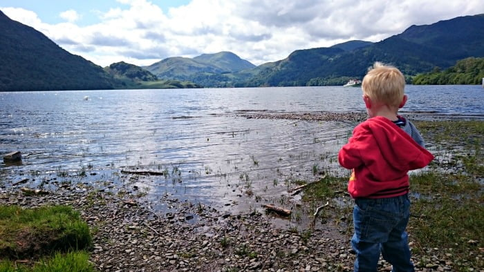 2 year old Daniel loved throwing stones in the lake at Ullswater!