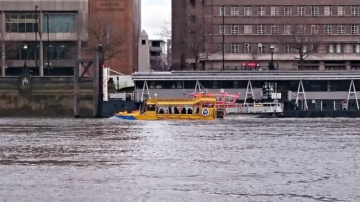 The London Duck Tour in the River