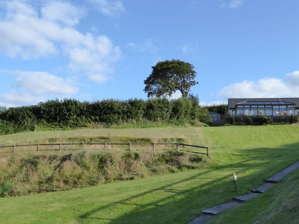 Spacious fenced grounds to play in at Robin Hill Farm Cottages