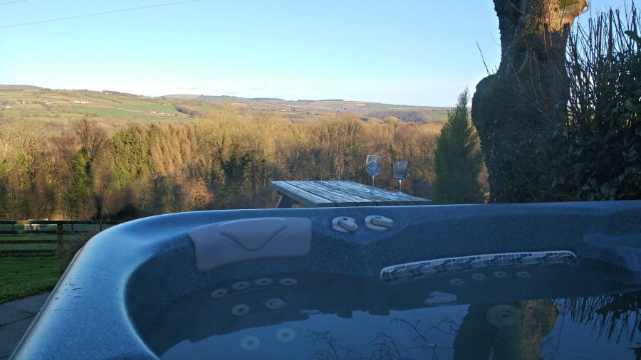 The hot tub at Clydey Cottages in Pembrokeshire