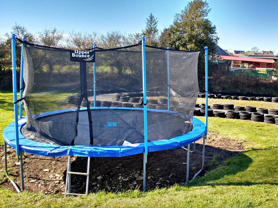The trampoline at Dyfed Shire Horse Farm
