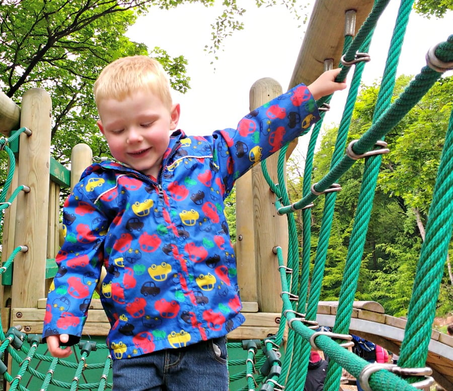 Toddler having fun at the Heights of Abraham