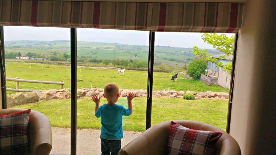 Admiring the view from Upper Greenhills Farm