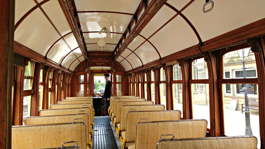 Inside a tram at Crich Tramway Village
