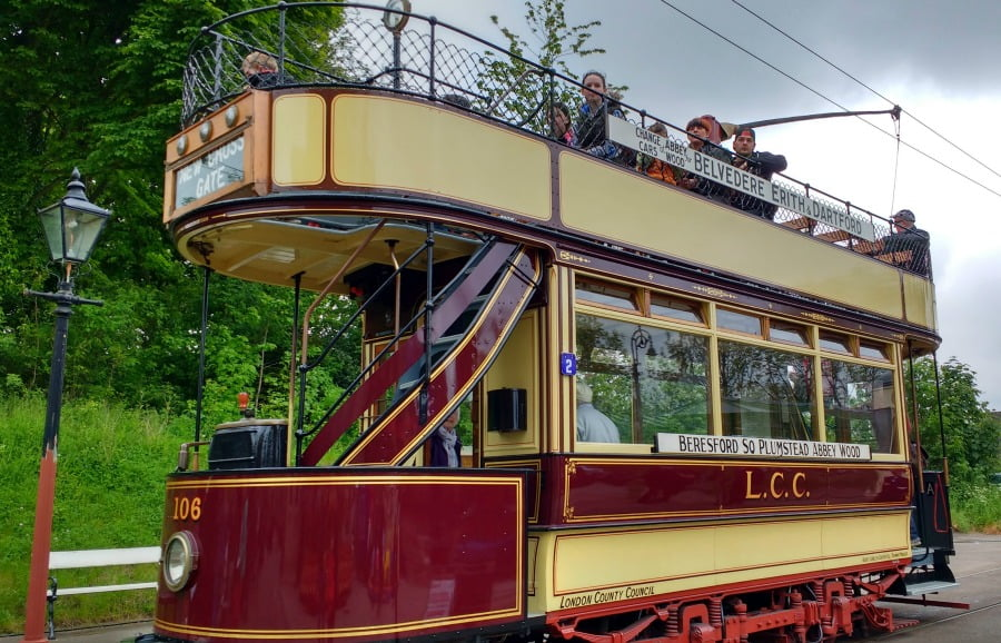 The London County Council Tram at Crich Tramway Village