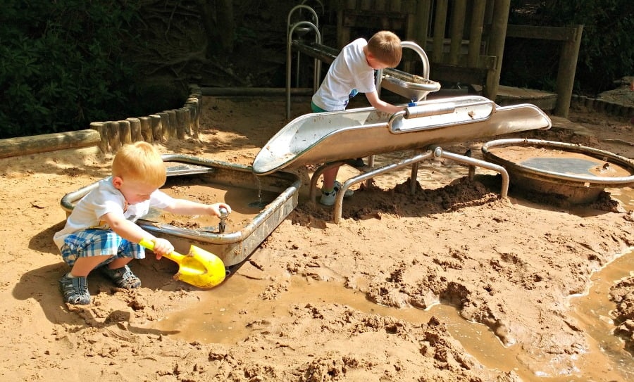 Playing in the sand and water in the Chatsworth Farmyard