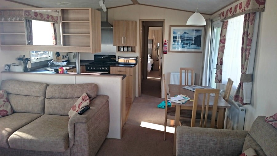 Inside a luxury at Whitecliff Bay - a baby and toddler friendly holiday park in the Isle of Wight.
