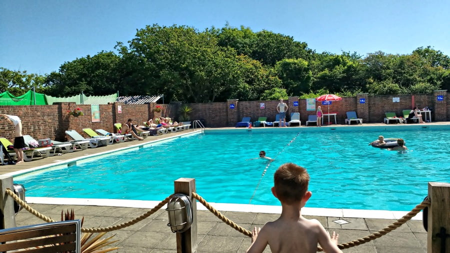 The outdoor swimming pool at Whitecliff Bay