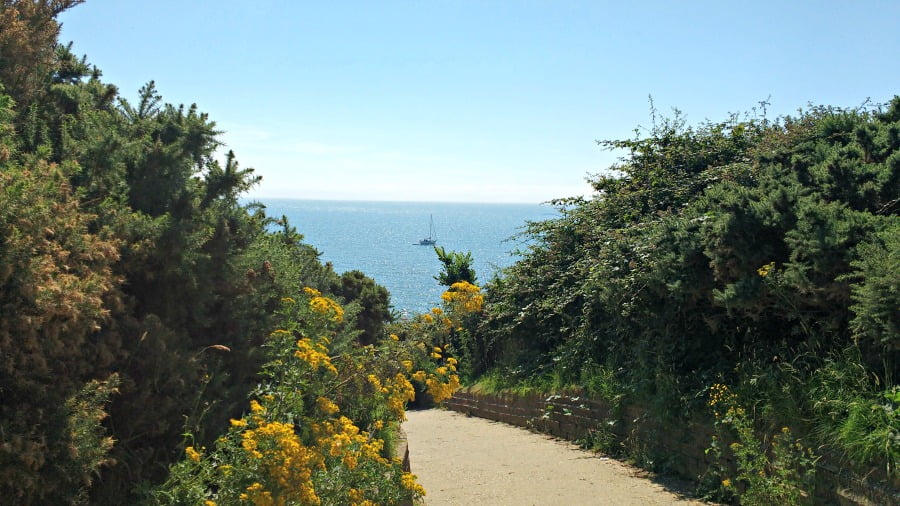Path to the beach at Whitecliff Bay