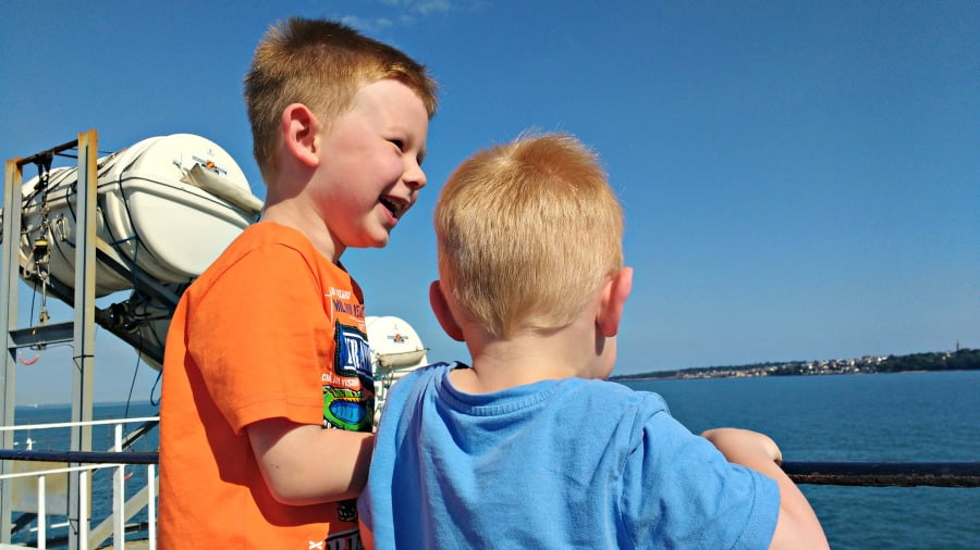 The boys were very excited on the ferry to the Isle of Wight!