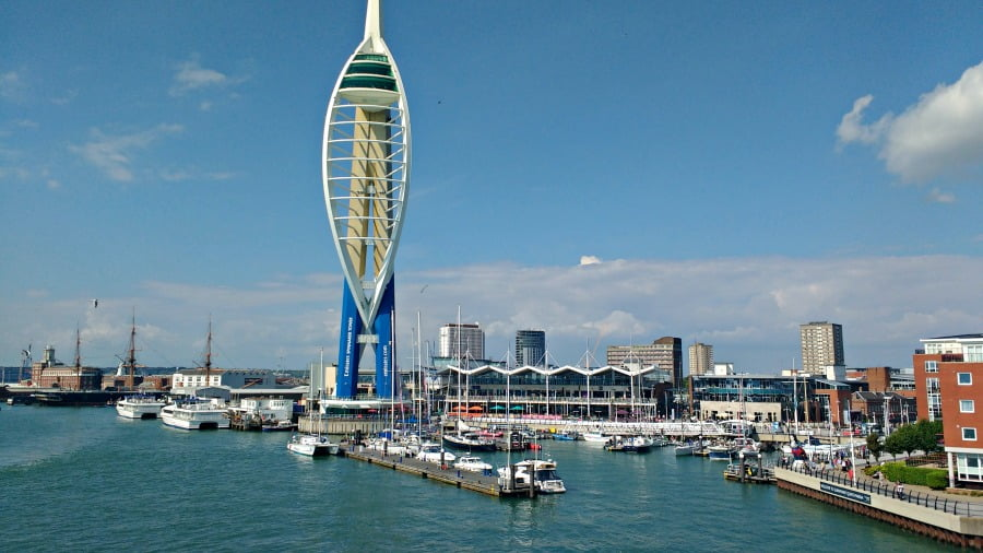 Leaving Portsmouth on the ferry to the Isle of Wight