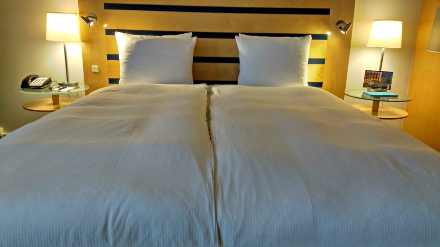 Cozy bed at the Clarion Hotel at Copenhagen Airport