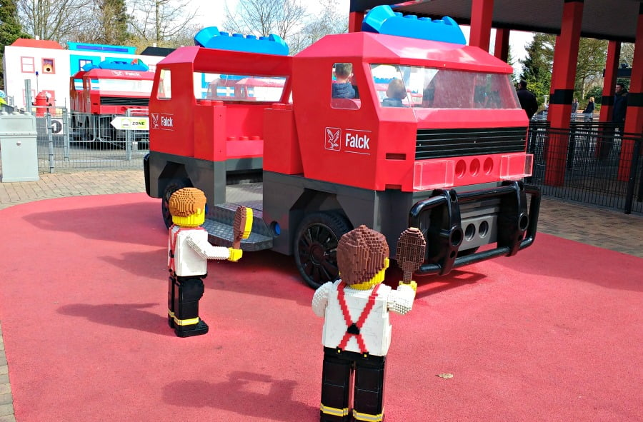Fire engine ride at Legoland Billund