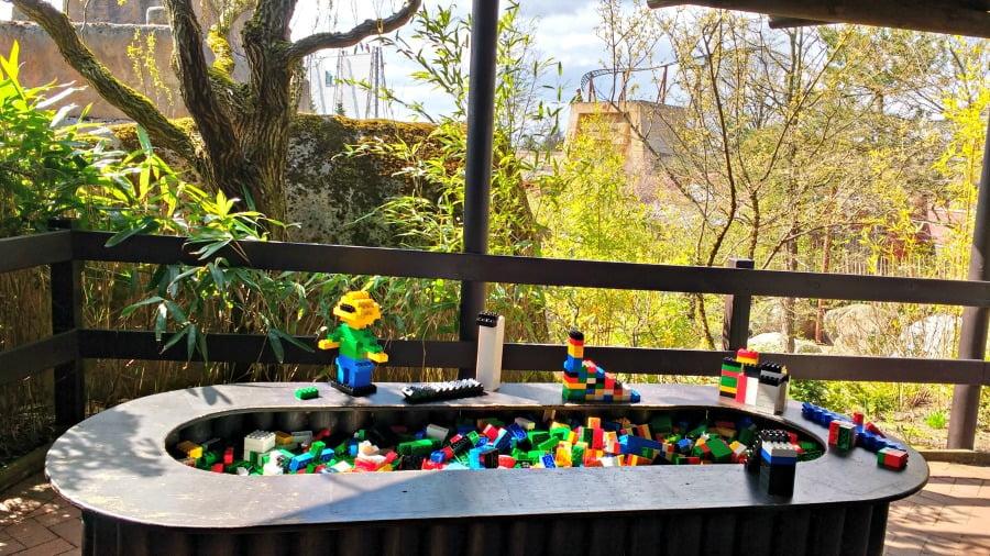 Lego tables in the queues at Legoland Billund