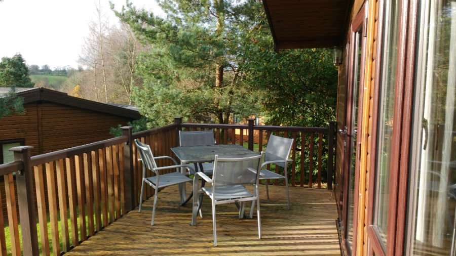 Verandah on a lodge at Sandybrook Country Park